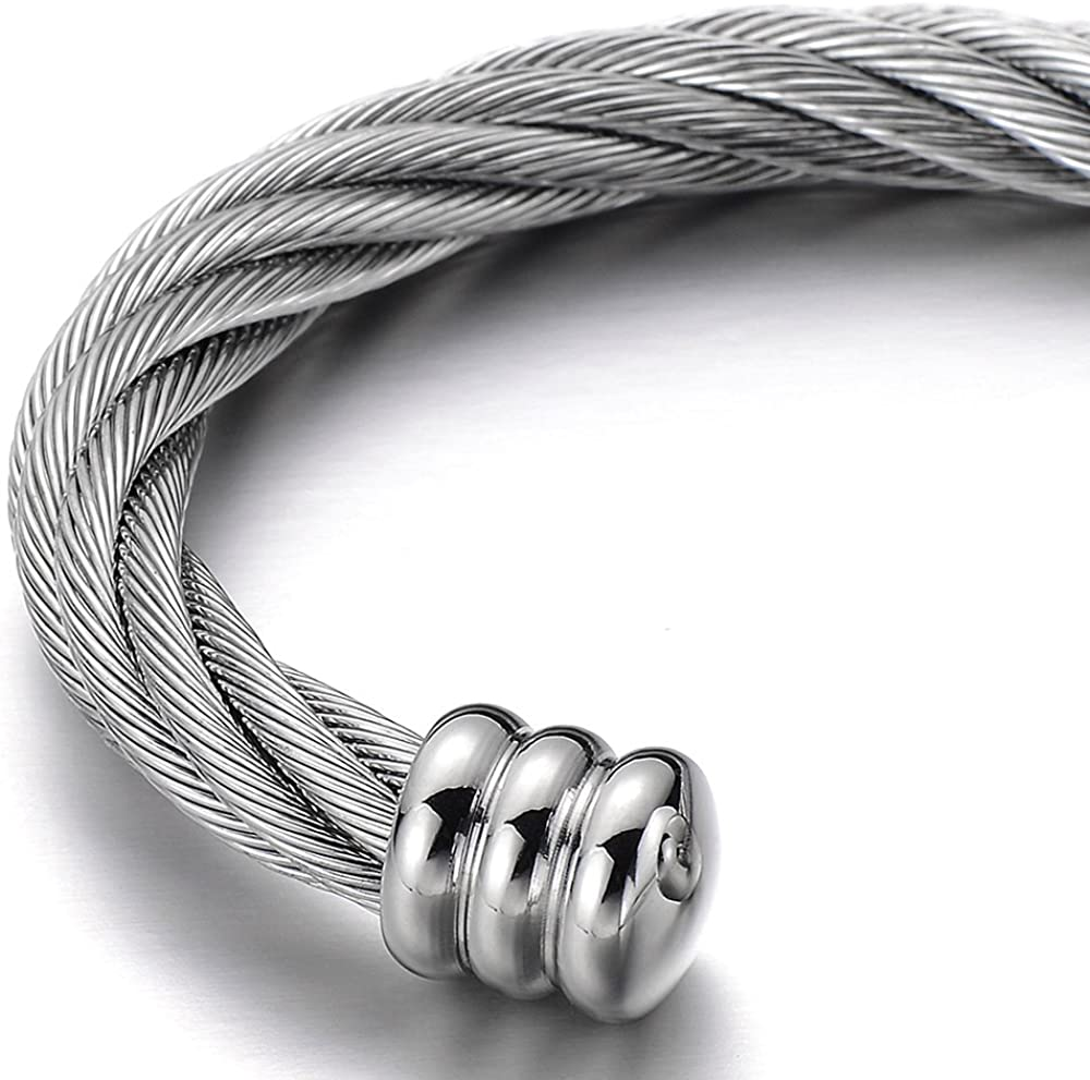 COOLSTEELANDBEYOND Large Elastic Adjustable Steel Twisted Cable Cuff Bangle Bracelet for Men Women