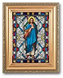 GOOD SHEPHERD TEXTURED ITALIAN ART GLASS IN DETAILED ANTIQUED GOLD FRAME 4x6 Image 5x7 Frame