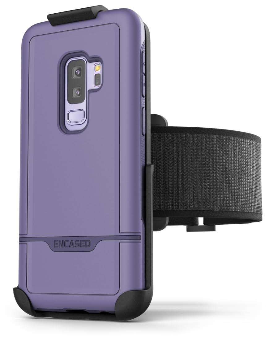 Samsung Galaxy S9 Plus Purple Case and  Armband Set - Lightweight (Clip'N'Go) Workout Band w/ Rebel Tough Holder (Fully size adjustable XS-XXL) RB52PP-AB