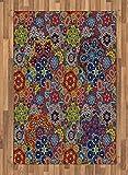 Ambesonne Batik Decor Area Rug, Vintage Combined Nested Paisley Motif Oriental Feminine Cultural Eastern Batik Theme, Flat Woven Accent Rug for Living Room Bedroom Dining Room, 4 X 5.7 FT, Multi
