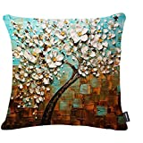 Jinbeile Cotton Linen Throw Pillow Cover Decorative 18 X 18 inch Oil Painting White Flower Black Tree and Cushion Case Home Pillowcase