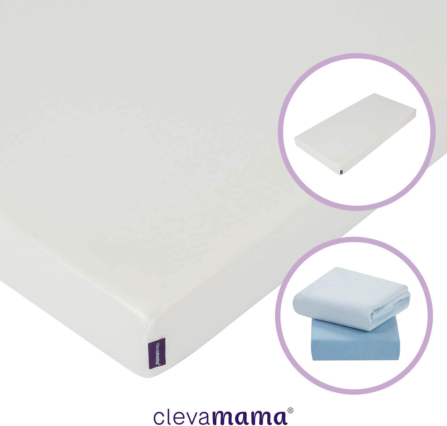 ClevaMama Cool Gel Cot Mattress with 2 Pack of Blue Cotton Sheets 60 x 120 cm Bundle
