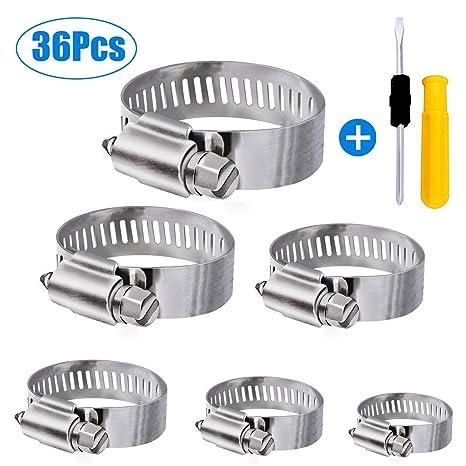 WinWoner - Abrazaderas de manguera de acero inoxidable, 36 unidades, ajustables, 6 – 51 mm, surtido de 8 tamaños para tuberías de agua familiar, ...