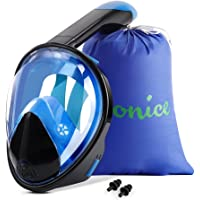 Wonice Snorkel Mask Full Face with Adjustable Head Straps,Compatible and Detachable GoPro Snorkeling & Swimming Mask