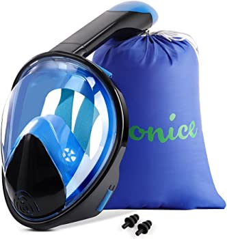 Wonice Snorkel Mask Full Face with Adjustable Head Straps Swimming Mask