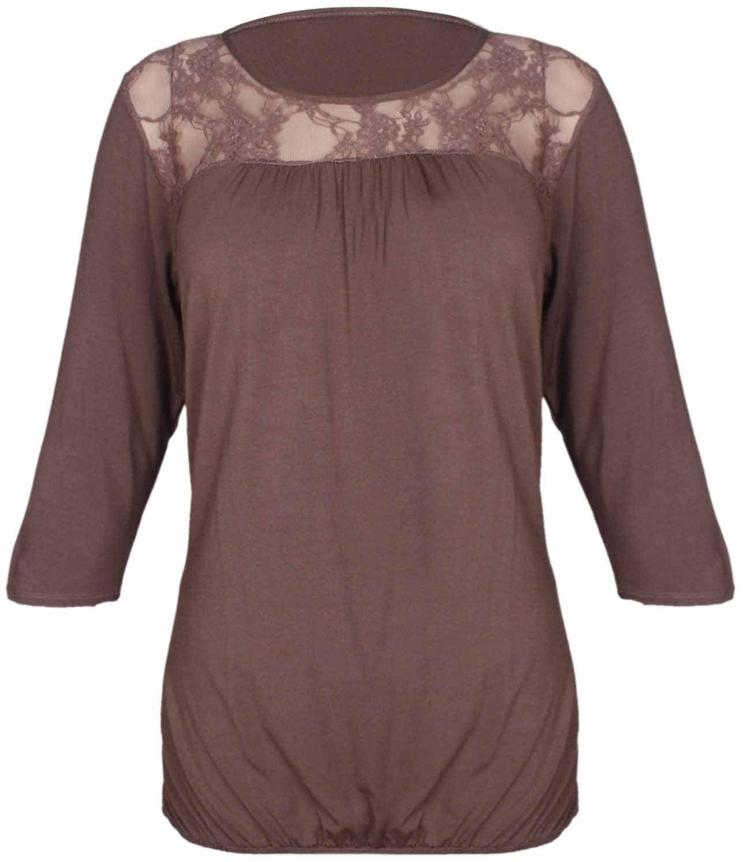 Damen Top, V-Ausschnitt Spitze mit Blumenmuster 3/4 Ärmel mit Rüschen, gerafftes  Damen Stretch T-Shirt VERKLEIDUNG Top Plus-Größe: Amazon.de: Bekleidung