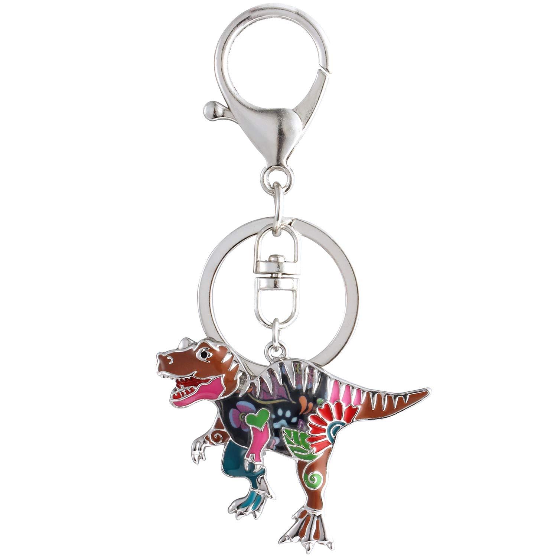 Luckeyui Multicolor Dinosaur Keychains Women Unique Enamel Tyrannosaurus Rex Keyring