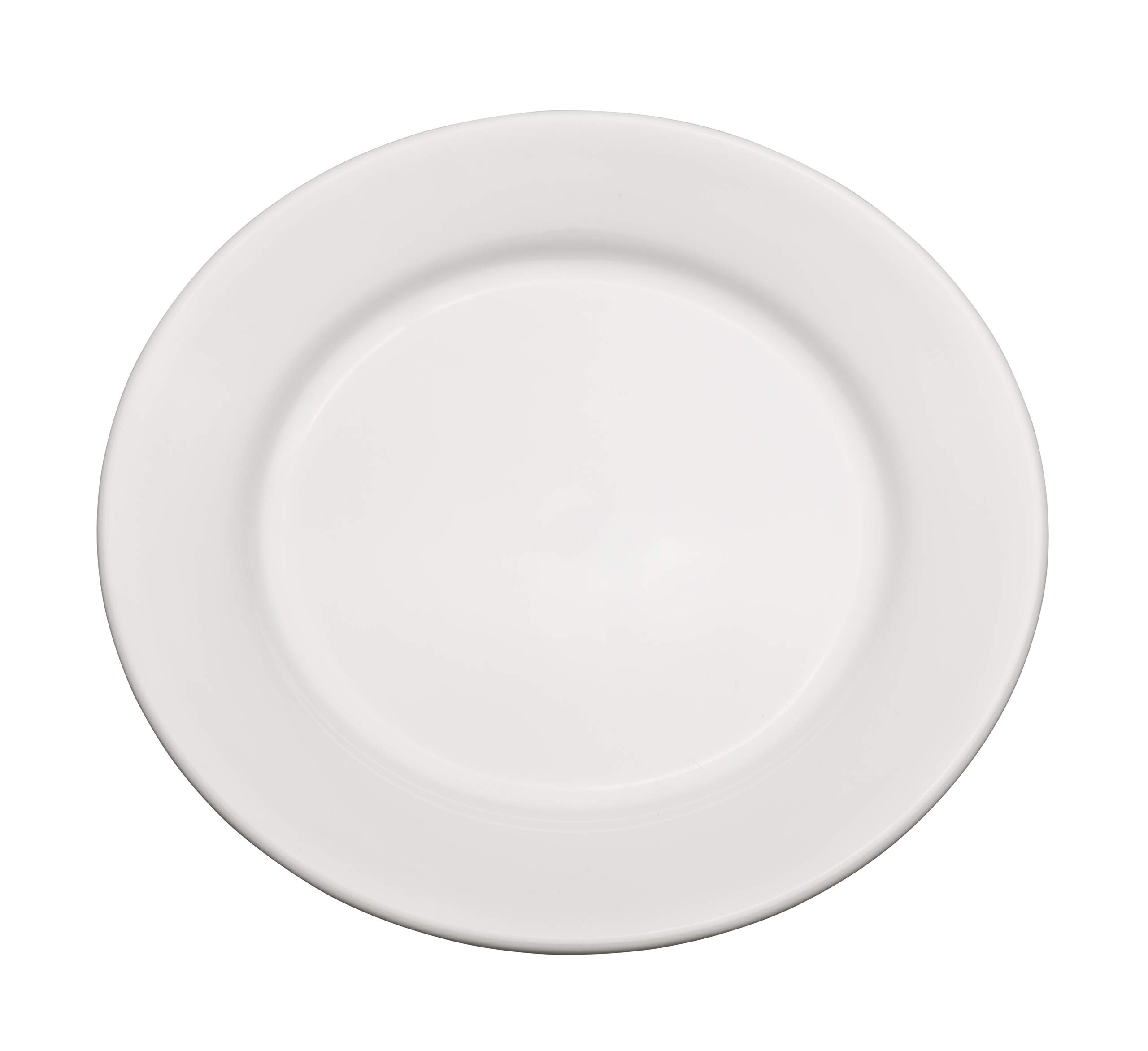 Chef Expressions 12'' Round Dinner Plate, Restaurant Quality, Vitrified Bright White Porcelain, Wide Rim, Rolled Edge (Case of 12)