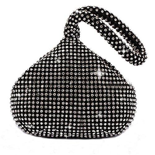 Bag Clutch Evening Full Trihedral Handbag Catkit Design Womens Rhinestone Black Tote z80OqC