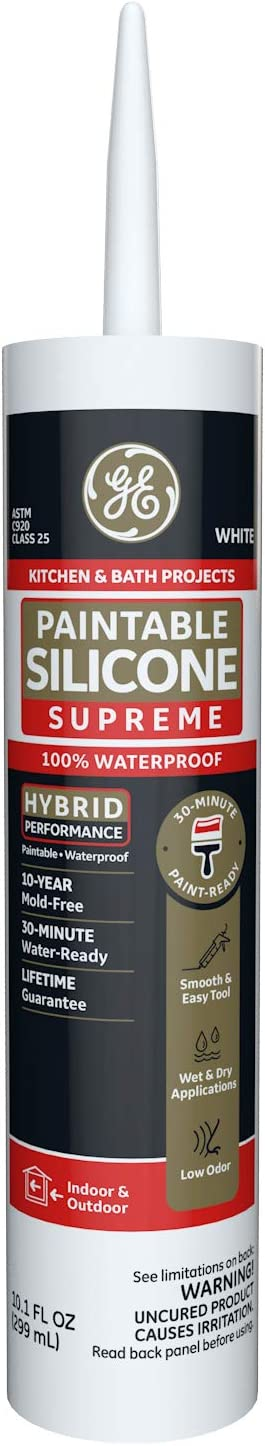 GE Sealants & Adhesives M90025-30 Paintable Silicone Supreme Kitchen & Bath Sealant, 10.1oz, White