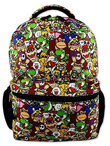 Nintendo Super Mario Brothers Boys Girls Teen 16 School Backpack (One Size, Black/Multi)