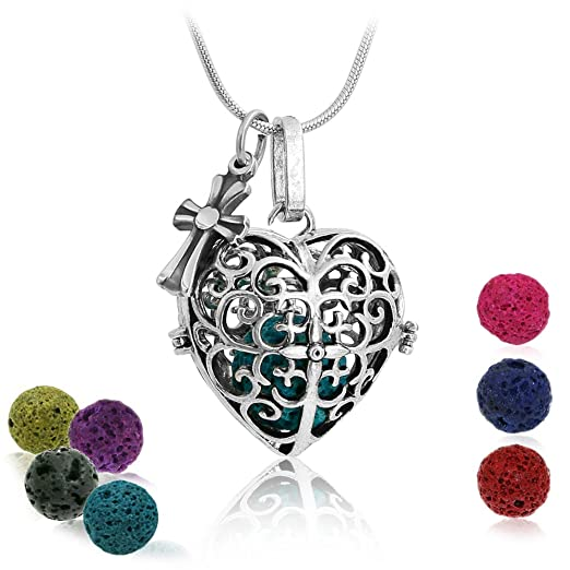 Heart Aromatherapy Essential Oil Diffuser Necklace Locket Pendant and 7 Colours Lava Stone Beads with Adjustable 24