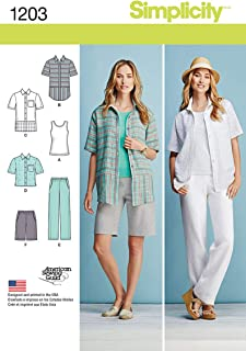 product image for Simplicity 1203 Women's Top, Tank Top, Pants, and Shorts Sewing Pattern, Sizes 10-18