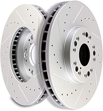 GS430 Front Black Slotted Brake Rotors+Ceramic Brake Pad For Lexus GS400 GS300