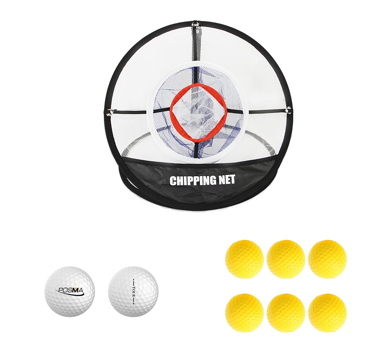 POSMA CN010A Portable Golf Training Chipping Net Bundle set with 1pc Hitting Aid Practice In/Outdoor Bag Hitting Nets + 2pcs Golf tour ball + 6pcs Golf PU ball