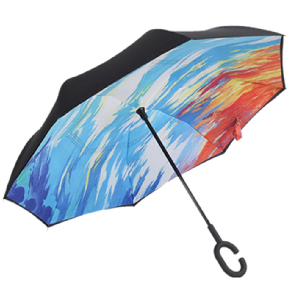 Paraguas invertido de doble capa independiente que se mantiene en pie por s/í solo paraguas de plegado invertido con mango en forma de C para mantener las manos libres mejor para viajar