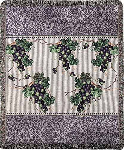 Grape Tapestry (Manual Vinter's Cottage Vinyard Grape Vines Woven Tapestry Throw Blanket with Fringe ATTVNC 50x60