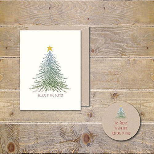 10 christmas cards holiday card greeting rustic tree vintage star rustic christmas tree - Rustic Christmas Cards