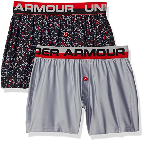 Under Armour Boys' Original Series Boxer Shorts 2-Pack, Overcast Gray/Fuel Green, Youth Large