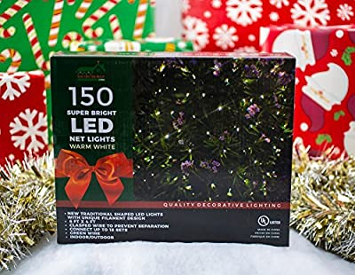 Stay Off the Roof Super Bright LED Christmas Net Lights Set - Warm White - 150-Piece - 6 ft x 4 ft Lighted Length, Connect up to 18 Sets - Holiday Pack