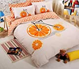 Cartoon bicycle feather butterfly Full Size Soft Sanding Brushed Soft Material Duvet Cover Sets 4 pcs Bedding Sets(1Duvet Cover +1 flat sheet + 2 pillowshams) Not include comforter (Orange bike)
