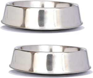 Iconic Pet 8 Cup Anti Ant Stainless Steel Non Skid Pet Bowl for Dog or Cat (2 Pack)