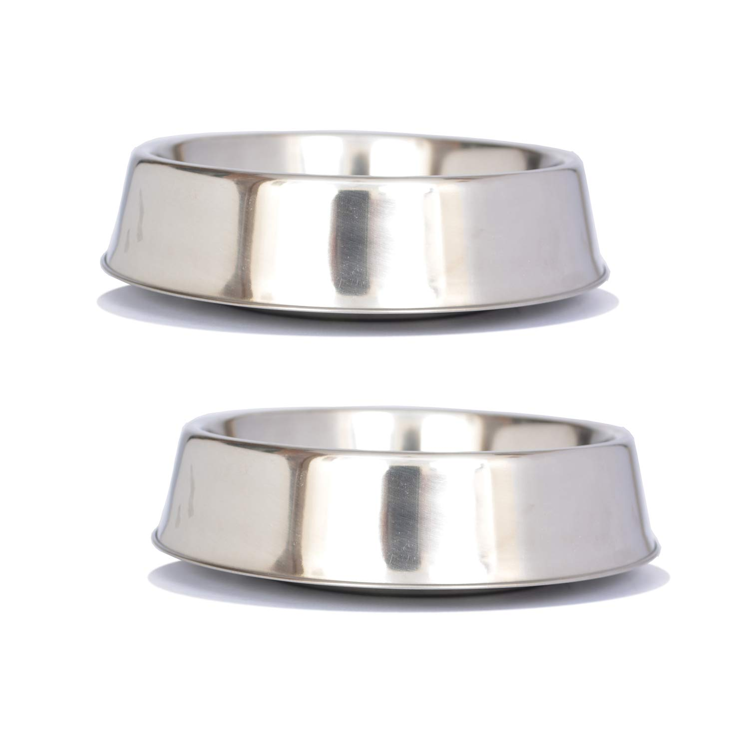 Iconic Pet 8 Cup Anti Ant Stainless Steel Non Skid Pet Bowl for Dog Or Cat (2 Pack), 64 oz by Iconic Pet