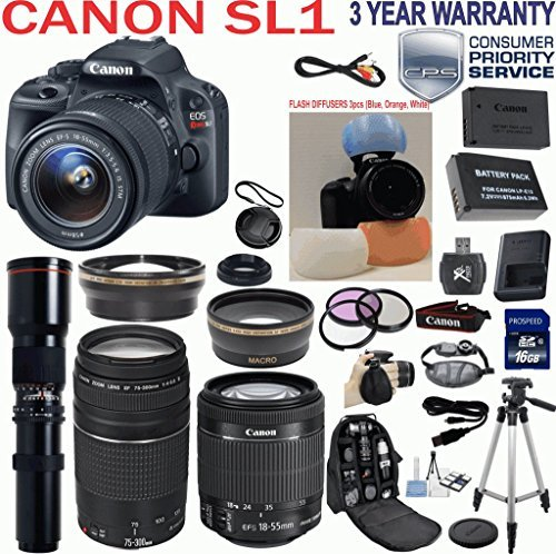 "Canon EOS Rebel SL1 18.0 MP CMOS Digital Camera HD Video with EF-S 18-55mm f/3.5-5.6 IS STM Zoom Lens + Canon 75-300mm III ZOOM Lens + 500mm Super Zoom Nature Photography Preset Lens + Telephoto & Wide Angle Lenses + 3pc Filter Kit + Camera Deluxe Case + Professional Grip Strap + 50"" Tripod + Extra Backup Battery + 3pc Flash Diffuser Set for Red Eye Reduction with 16GB SD Class 10 Card + 33rd Street Starter Kit + 3 Year Warranty & more"