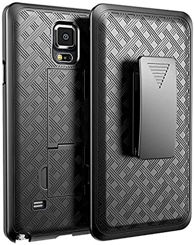 Note 4 Case,Glaxy Note 4 Case, NageBee Black Swivel Slim Belt Clip Holster Armor Protective Case, Defender Cover Holster Shell Combo Case for Samsung Galaxy Note 4 - (Cell Phone Covers For Samsung 4)