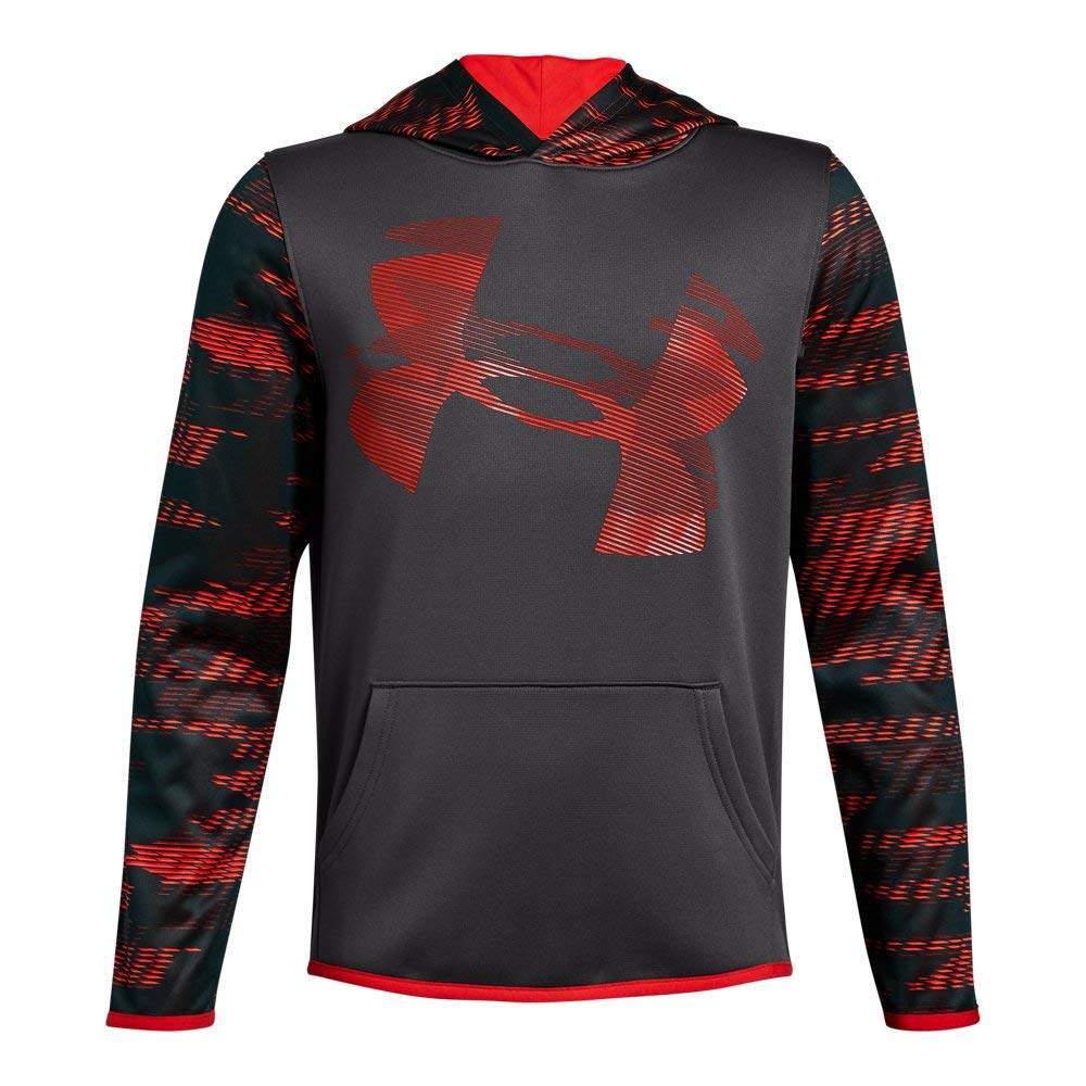 Under Armour Boys' Armour Fleece Sleeve Hoodie, Charcoal (019)/Radio Red, Youth X-Small by Under Armour