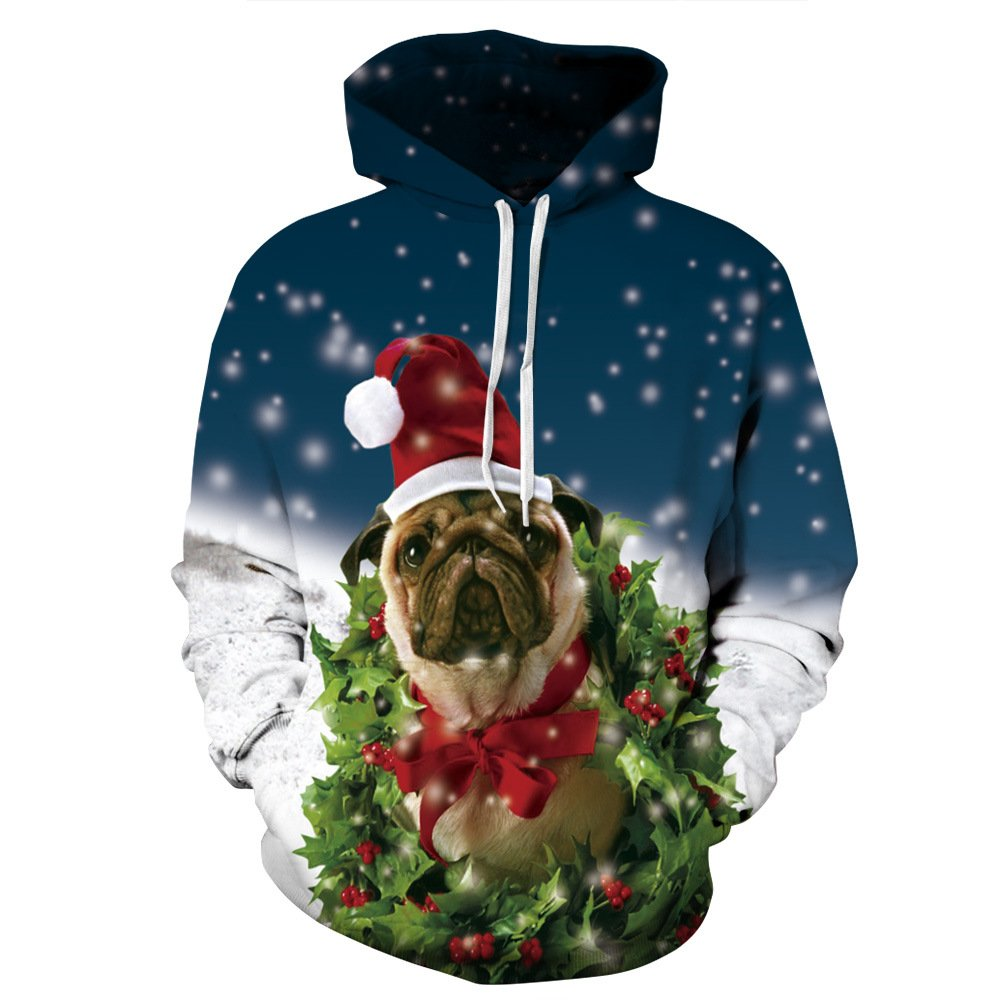 Cfanny Couple Cute 3D Santa Print Ugly Christmas Pocket Sweatshirt Hoodies