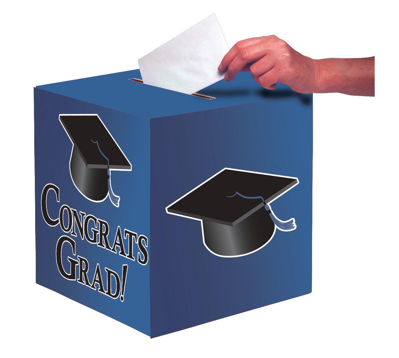 Creative Converting Graduation Card Holder Box, Congrats Grad, True Blue