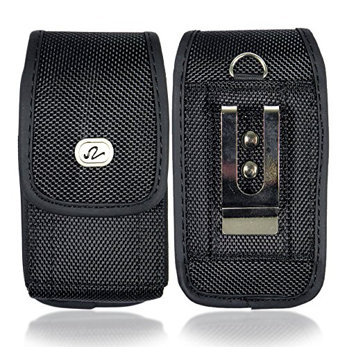 Cell Phone Pouch Case (Heavy Duty Vertical Small Smart Phone/ iPhone 3G / 3Gs / iPhone 4 / 4S size Nylon Cell Phone Case / Pouch / Holster with Belt Loop, Metal Belt Clip,)
