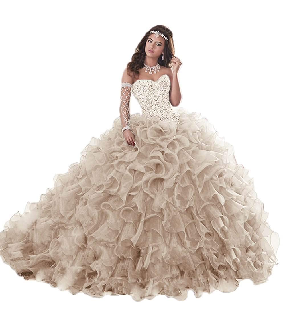 Champagne Jerald Norton Ltd Gorgeous Heavy Beaded Organza Quinceanera Dress for Sweet 16 Princess Ball Gowns bluee