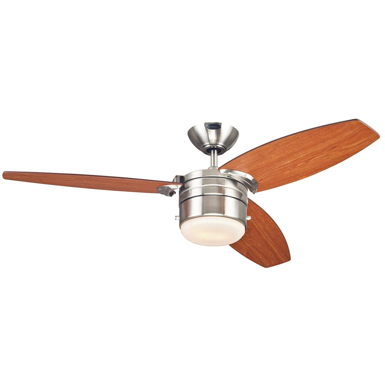 Westinghouse 7247400 Lavada One-Light Reversible Three-Blade Indoor Ceiling Fan, 48-Inch, Brushed Nickel Finish with Opal Frosted Glass