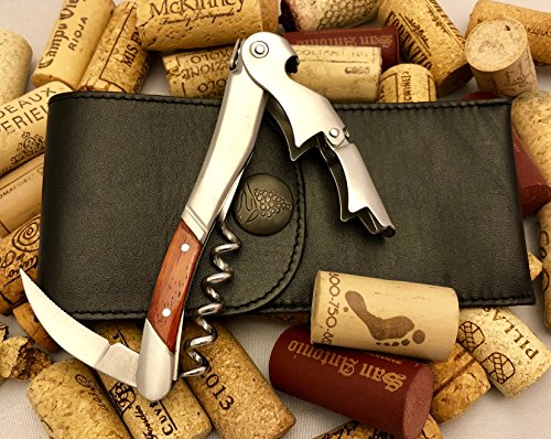 Laguiole Apron (Bellini (Pulltap's family) Professional Rosewood Waiter's Corkscrew with Leather Corkscrew Holster Pouch)