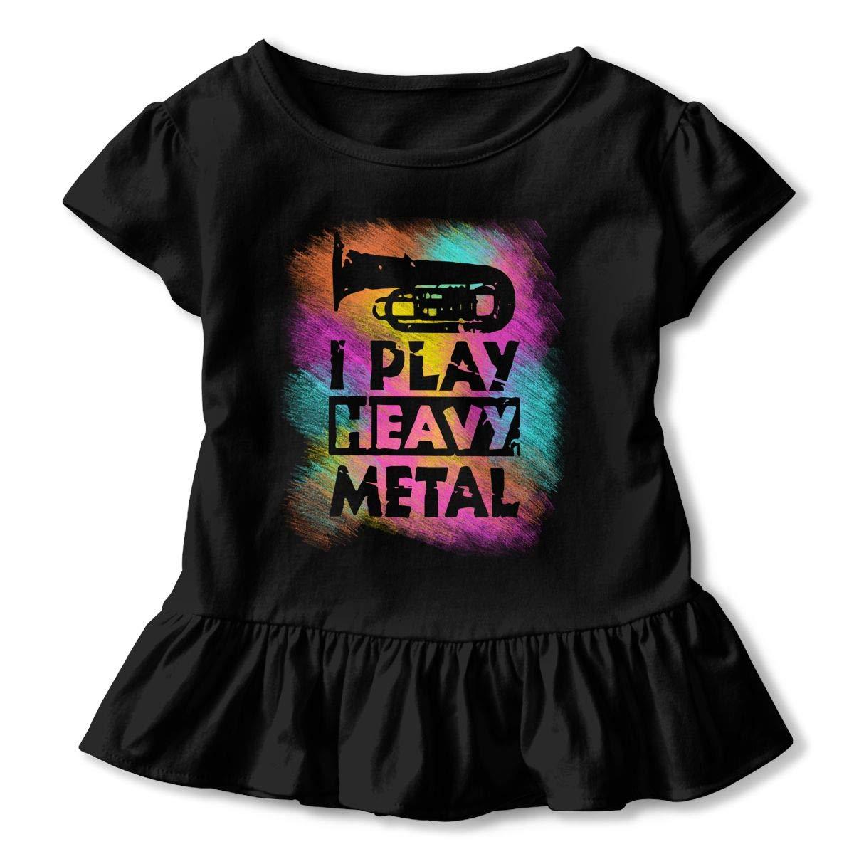 I Play Funny Heavy Metal Toddler Girls T Shirt Kids Cotton Short Sleeve Ruffle Tee