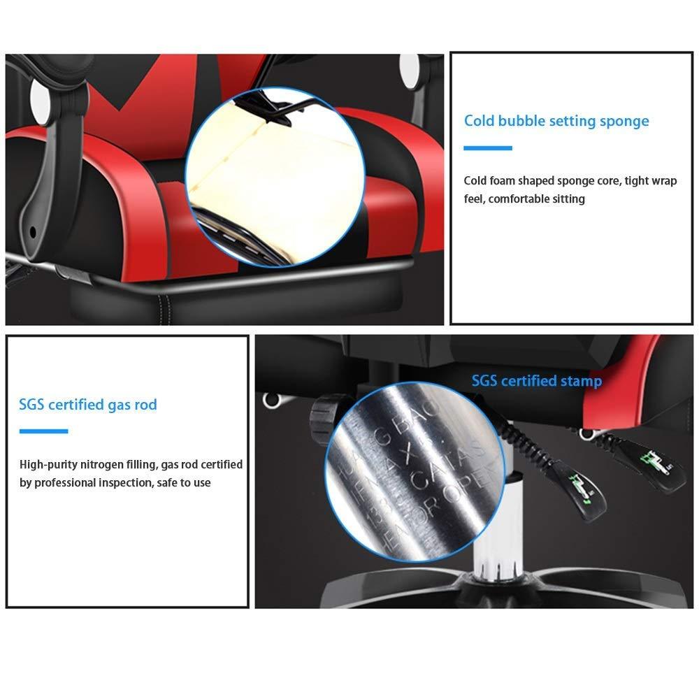 JIEER-C stol svängbar stol verkställande stol, upphöjd roterande justerbar sits rygg datorstol med massage ländrygg stöd spelstol för kontor student sovsal, blå vit Svart vit