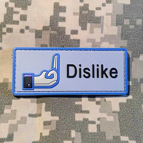 DISLIKE PVC Rubber Morale Patch by NEO Tactical Gear Morale Patch Dislike Button - Specs Best For Round Face