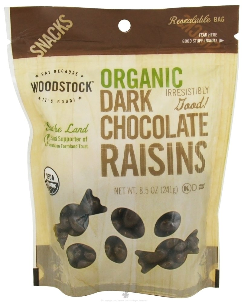 Woodstock Snacks - Organic - Dark Chocolate Raisins - 8.5 Oz - Case Of 8