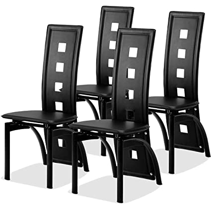 Giantex 4 Pcs Dining Chairs PU Leather Steel Frame High Back Contemporary  Home Furniture (Black)