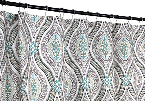 (Elegant Blue Brown Neutrals Fabric Shower Curtain: Teardrop Paisley Print Design, 72