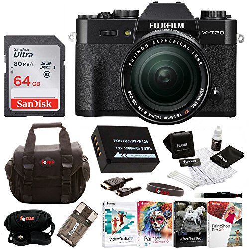 Fujifilm X-T20 Camera Body w/XF18-55mm Lens Kit  w/Editing S