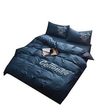 Weirk Bettwäsche Einfache Einfarbig Vierteilige Bettlakenbett