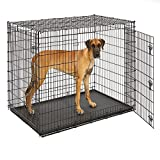 MidWest Extra Large Dog Breed (Great Dane) Heavy Duty Metal Dog Crate w Leak-Proof Pan - Double Door Giant Dog Crate measures 54L x 37W x 45H Inches & Weighs 80.2 lbs.