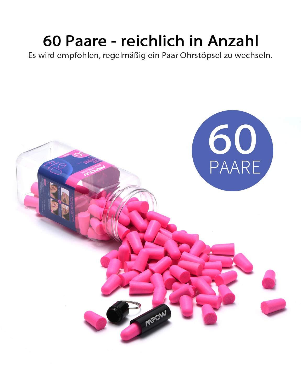 oltre 34 dB SNR 60 paia tiro concerti rumore protezione acustica caccia rosa scuro Mpow con scatola in alluminio portatile russare Tappi per orecchie tappi per orecchie per dormire