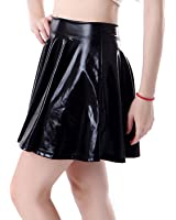 HDE Women's Shiny Liquid Metallic Wet Look Flared Pleated Skater Skirt