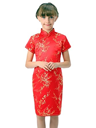 2c920554a80a Amazon.com: Bitablue Girls Red Chinese Dress with Golden Wintersweet ...