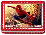 Spiderman Personalized Edible Cake Topper Image -- 1/4 Sheet