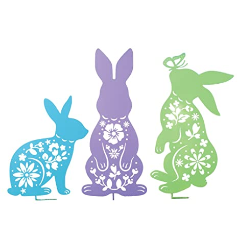 Easter Bunny Outdoor Garden Decoration   Set Of 3 Yard Stakes